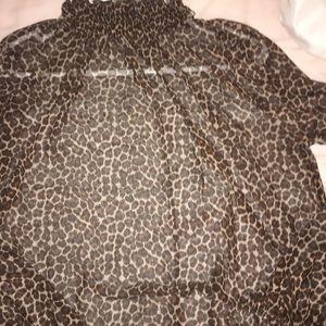 Cheetah print sheer turtleneck